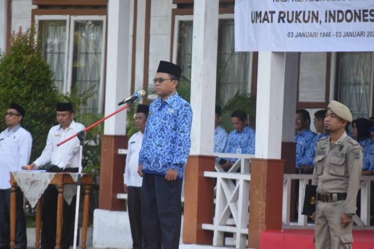 Bupati bertindak sebagai Inspektur Upacara Hab ke 74 tahun 2020 Kemenag Mentawai