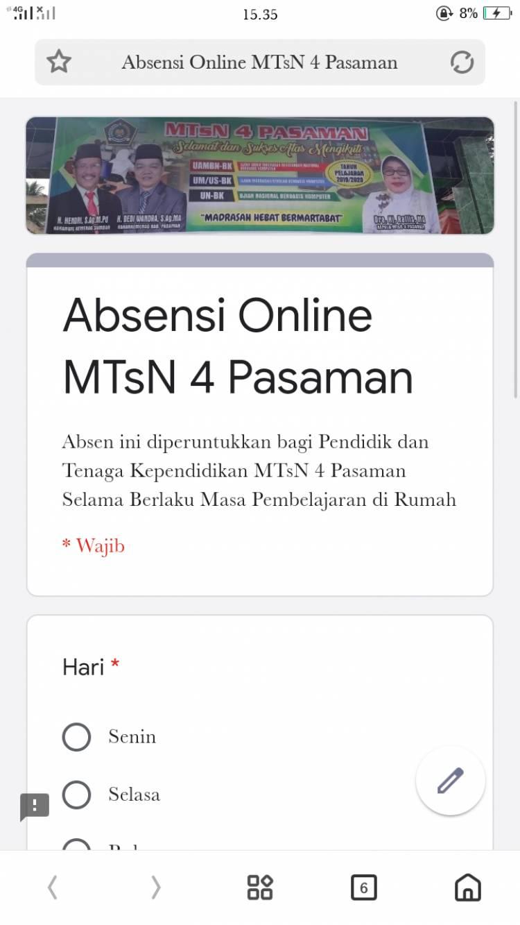 Wfh Diberlakukan Guru Mtsn 4 Pasaman Laporkan Kinerja Harian Melalui Absen Online Kementerian Agama Provinsi Sumatera Barat