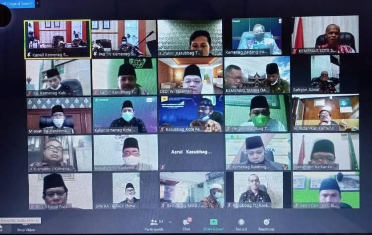 Kakankemenag Kota Padang Panjang Ikuti Rapat Persiapan Pray From Home Tingkat Sumbar